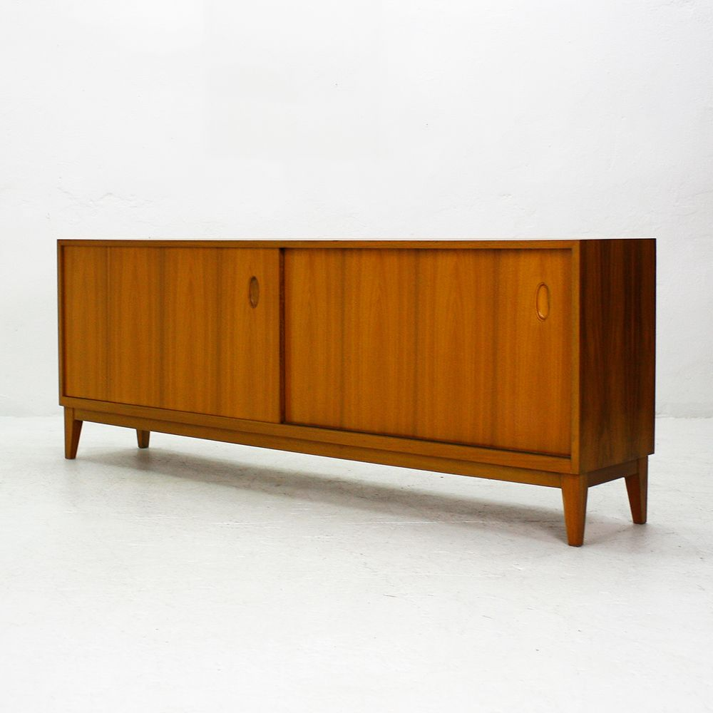 walnut sideboard with sliding doors from wk 1950s for. Black Bedroom Furniture Sets. Home Design Ideas