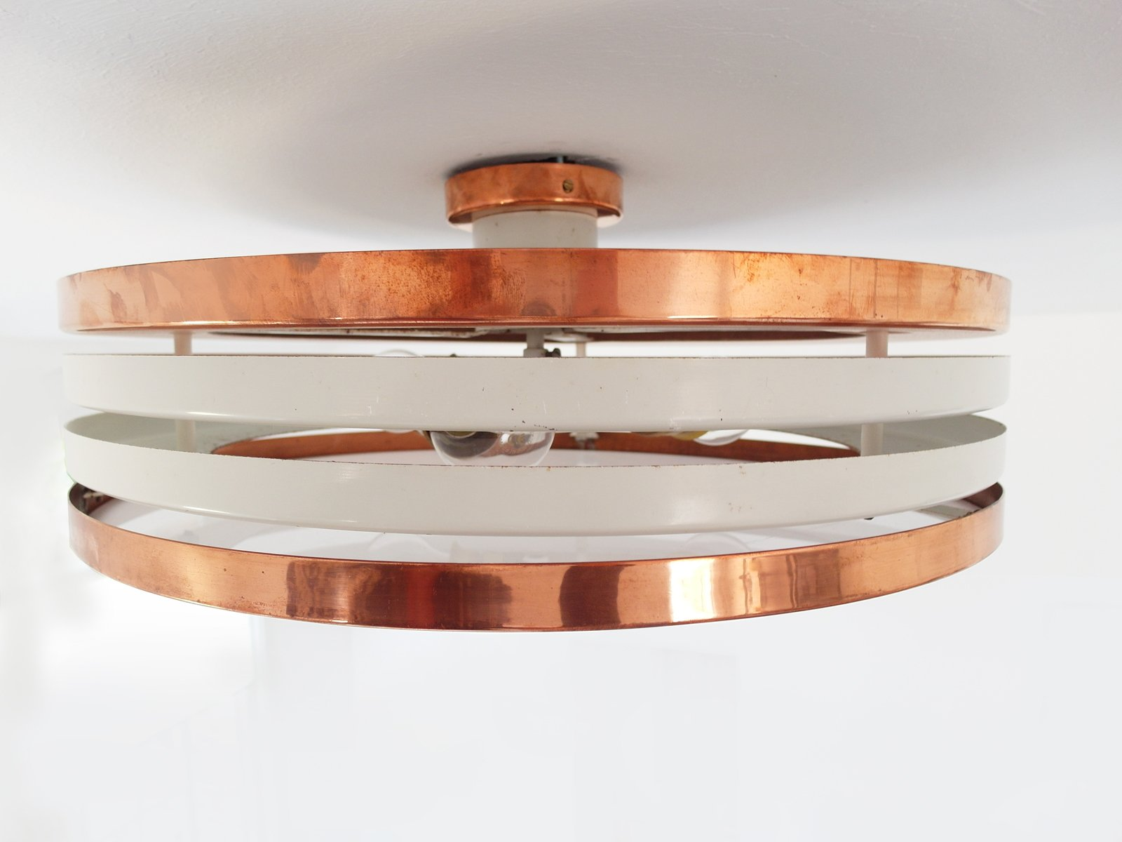 Finnish Copper Amp Plexiglas Flush Mount Ceiling Light From