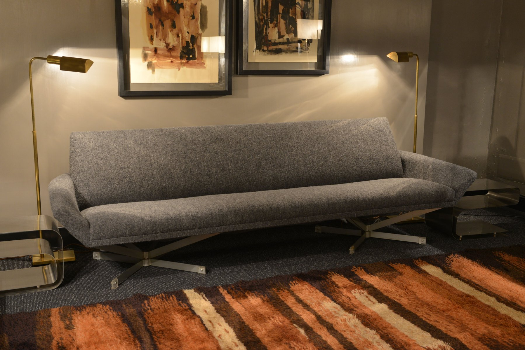 Gray fabric sofa by georges van rijck for beaufort 1960s for Grey couches for sale