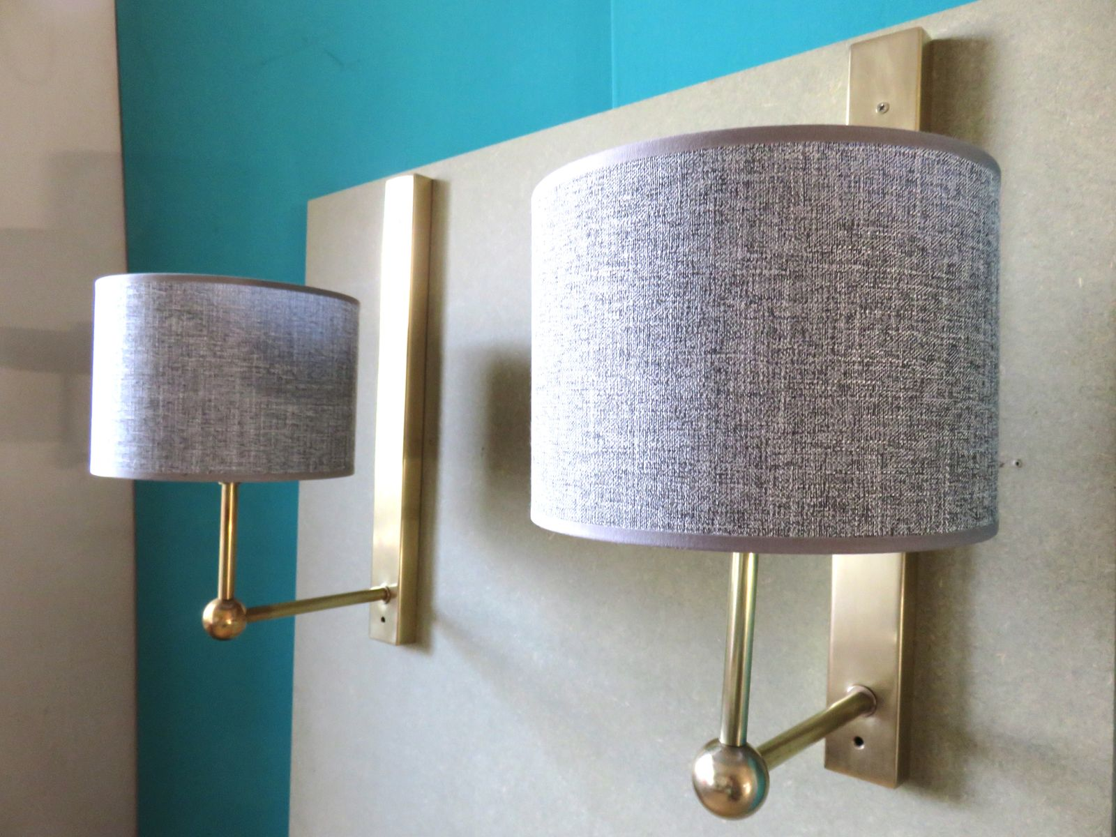 Large Brass Wall Lights, 1970s, Set of 2 for sale at Pamono