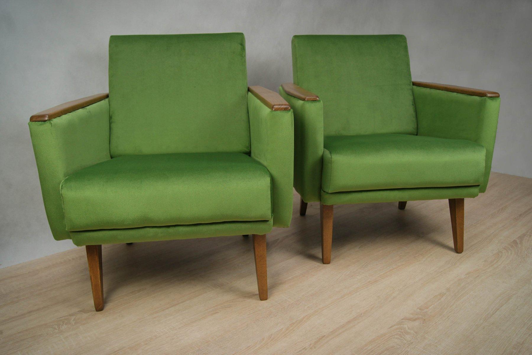 gr ne deutsche sessel 1960er 2er set bei pamono kaufen. Black Bedroom Furniture Sets. Home Design Ideas