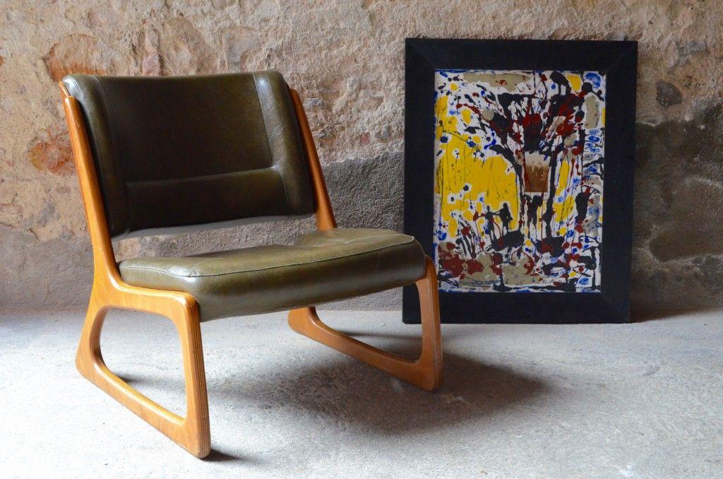 sessel mit kufengestell von baumann 1960er bei pamono kaufen. Black Bedroom Furniture Sets. Home Design Ideas