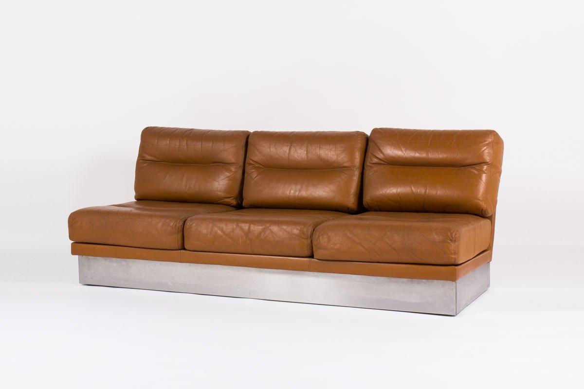 braunes leder sofa von jacques charpentier 1970 bei. Black Bedroom Furniture Sets. Home Design Ideas