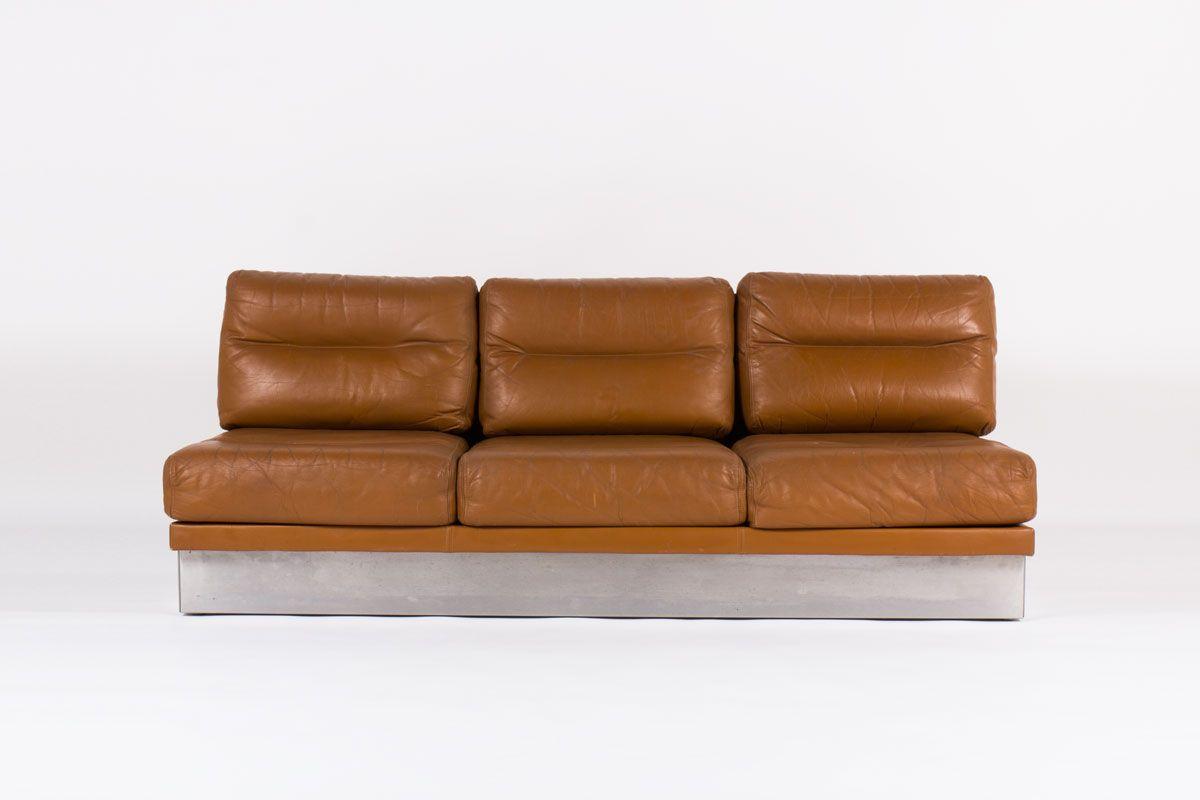 braunes leder sofa von jacques charpentier 1970 bei