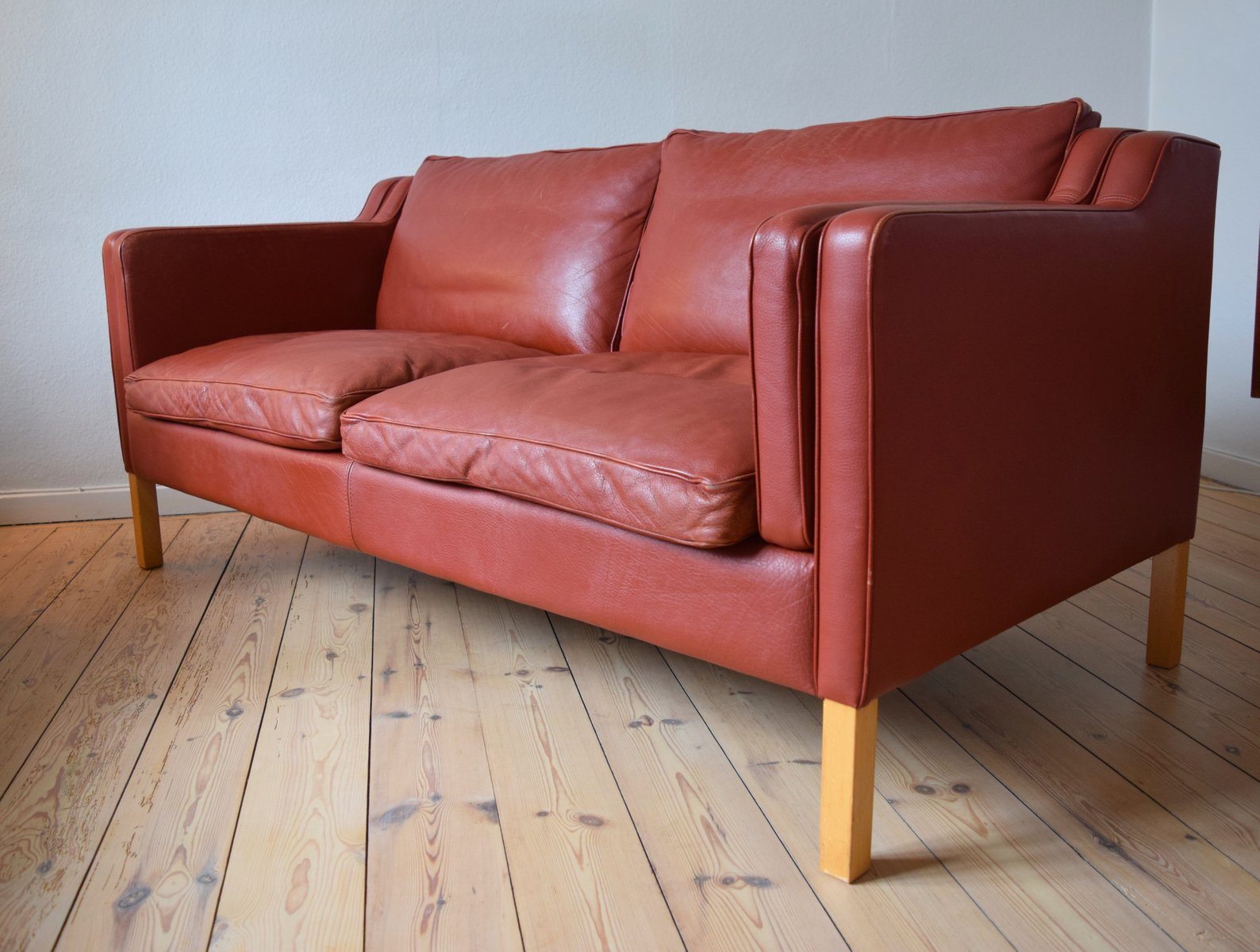 danish cognac leather two seater sofa from stouby 1980s