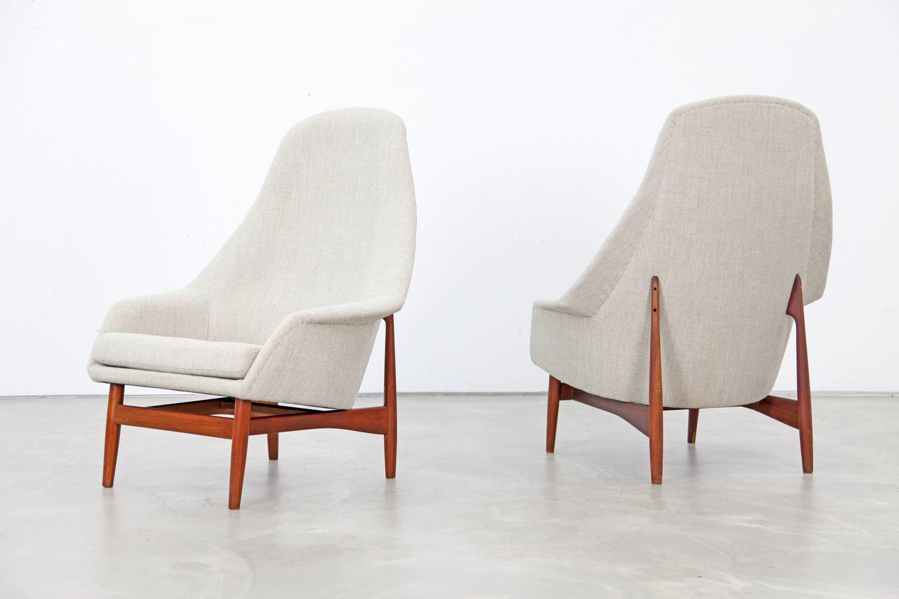 High Back Lounge Chairs By Ib Kofodlarsen, 1957, Set Of 2