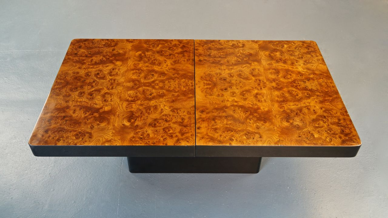 Vintage Italian Burl Wood Coffee Table By Willy Rizzo