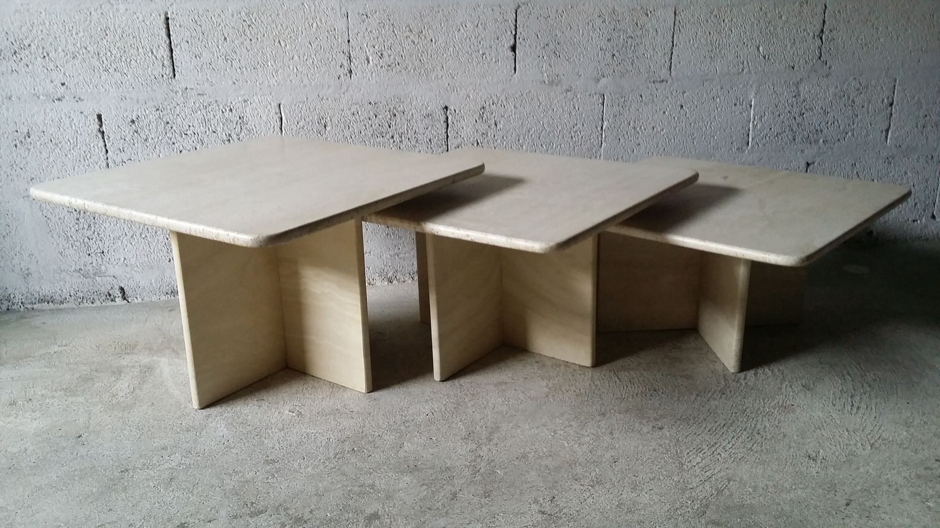 Vintage Travertine Coffee Tables from Roche Bobois Set of 3 for