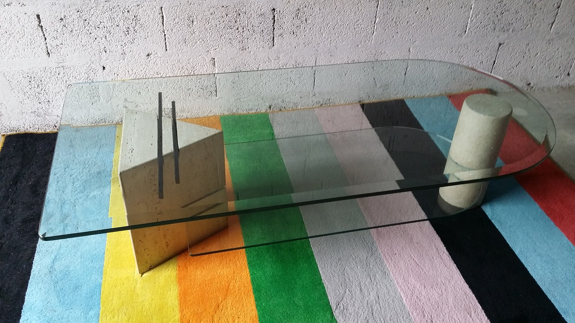 Vintage roche bobois glass travertine coffee table for - Table marbre roche bobois ...
