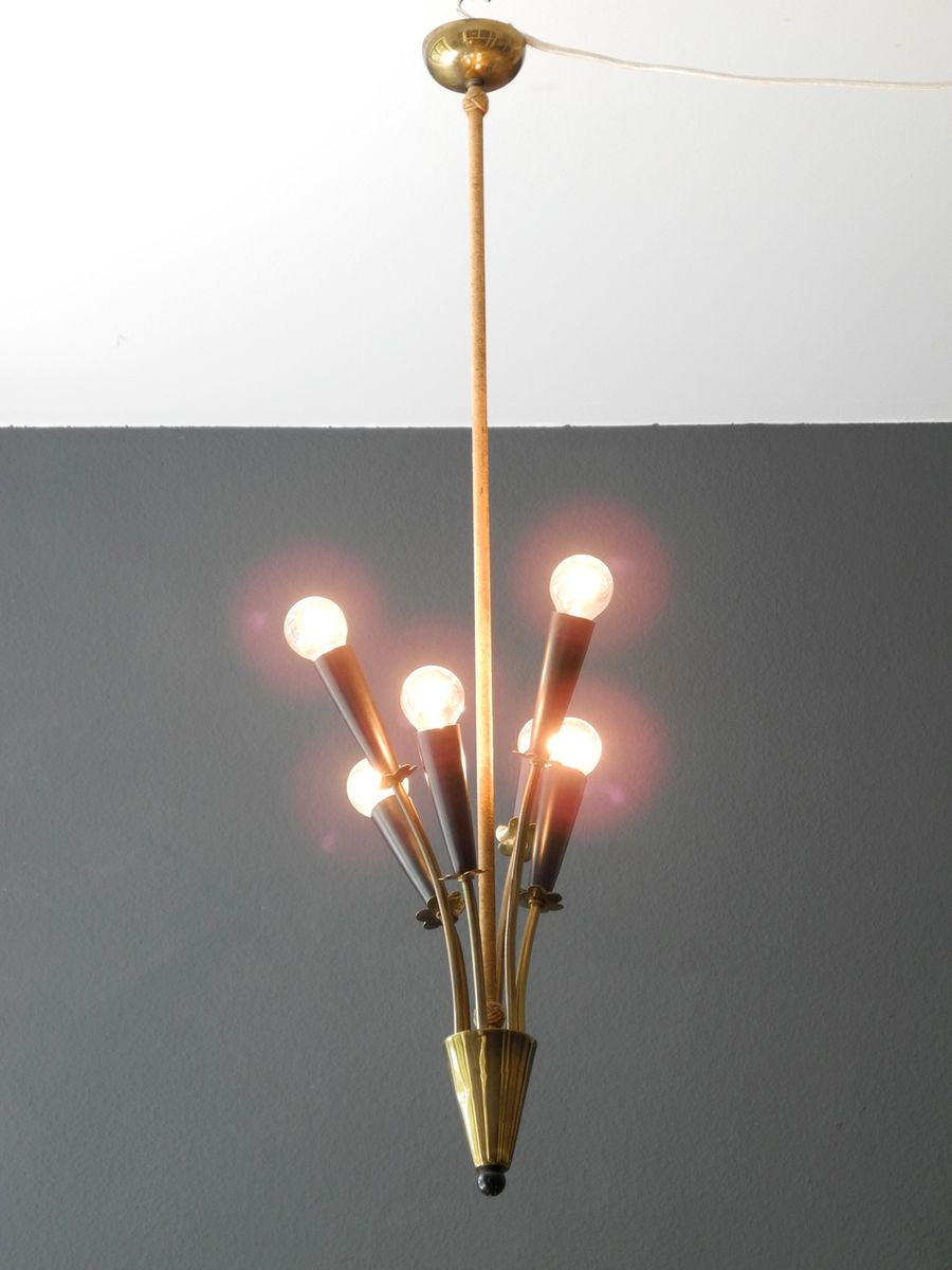 Mid century brass cone ceiling lamp with six arms 1950s for Mid century ceiling lamp
