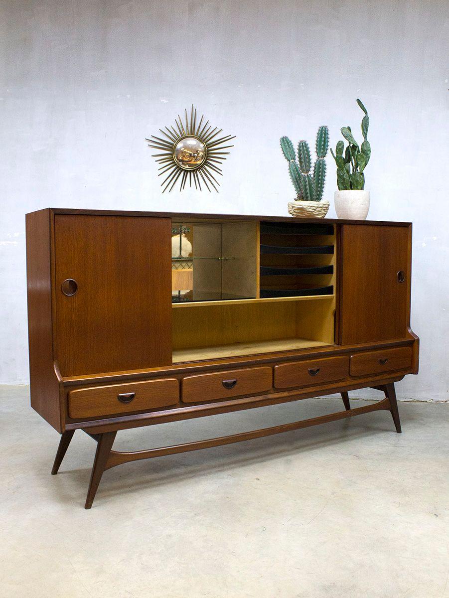 hoher vintage schrank von louis van teeffelen f r w b bei. Black Bedroom Furniture Sets. Home Design Ideas