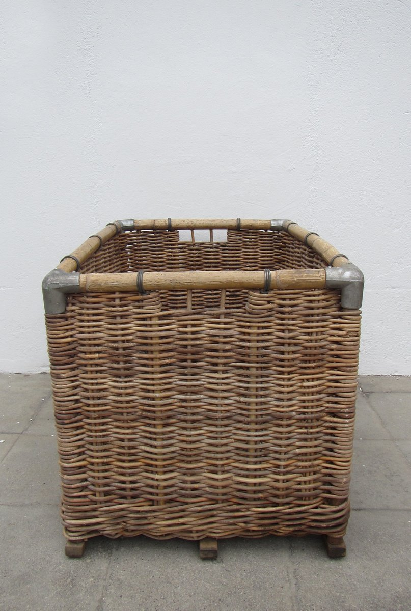 Large wicker laundry basket 1950s for sale at pamono - Large wicker laundry hamper ...