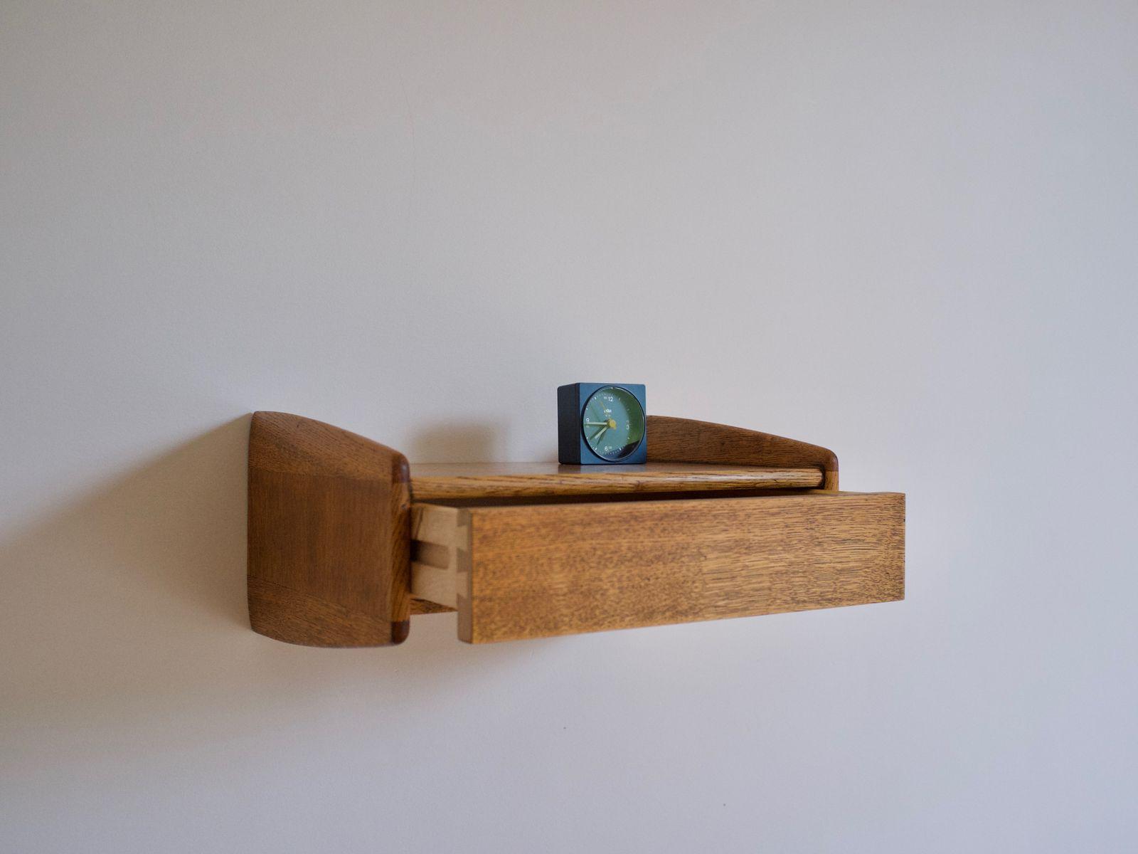 danish wall mounted bedside tables by melvin mikkelsen. Black Bedroom Furniture Sets. Home Design Ideas