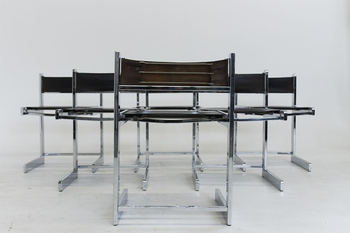 Mid century modern chrome dining chairs set of 6 for sale for Modern chrome dining chairs