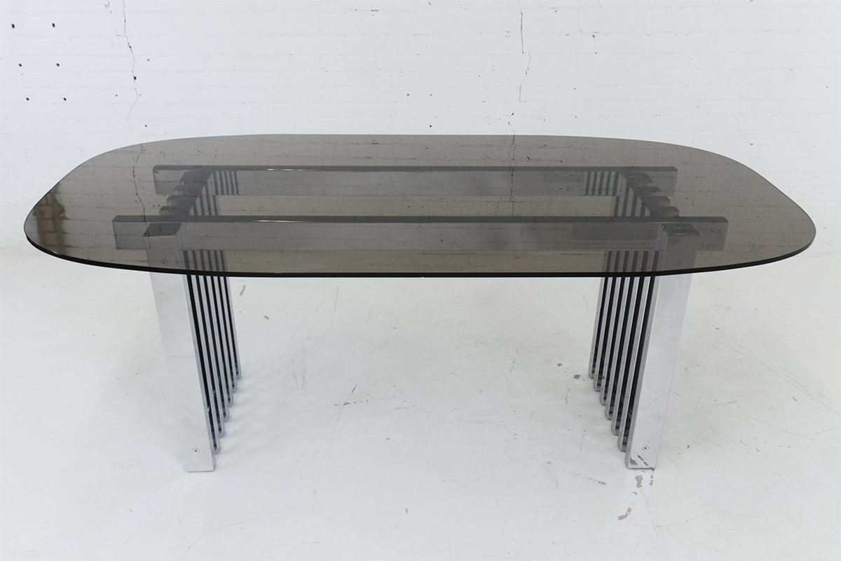 Mid century modern chrome and glass dining table 1970s for Dining table weight