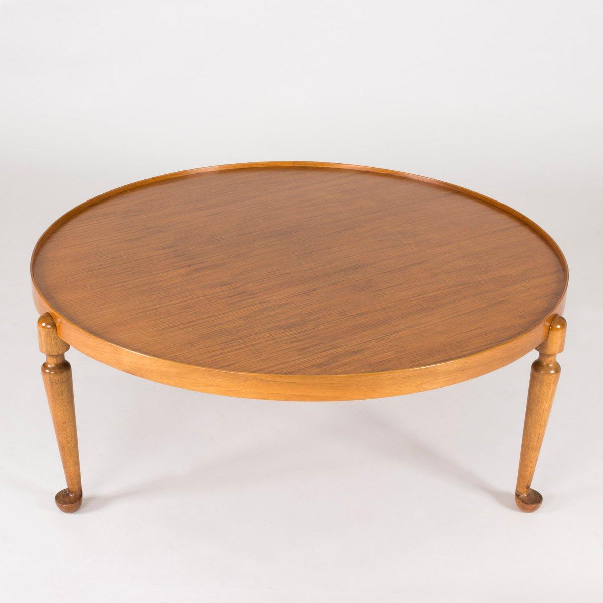 midcentury swedish round walnut coffee table by josef frank for  - price per piece