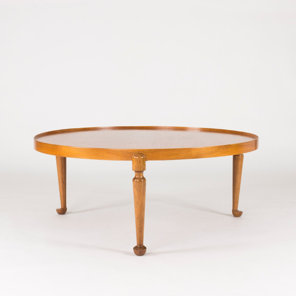 Mid-Century Swedish Round Walnut Coffee Table By Josef