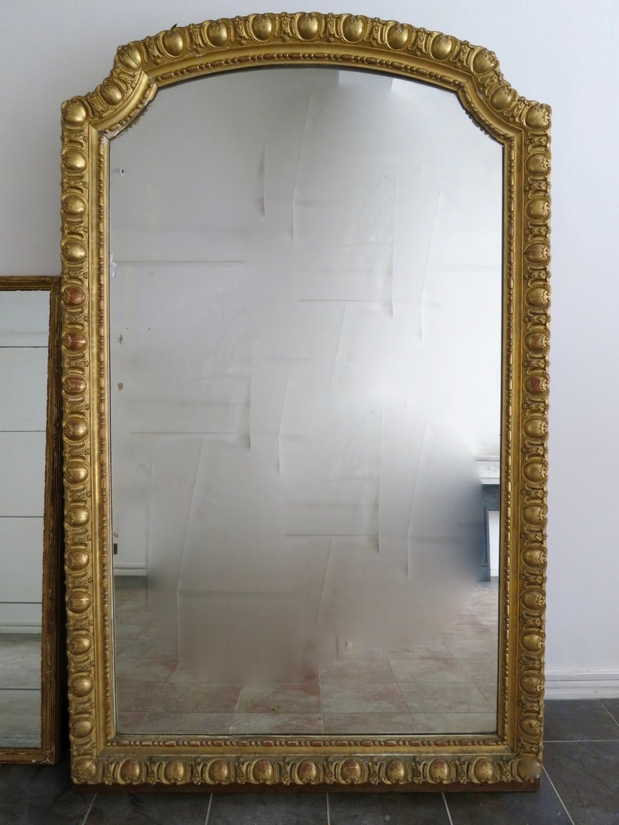 Large antique french gold gilt mirror for sale at pamono for Big mirrors for sale