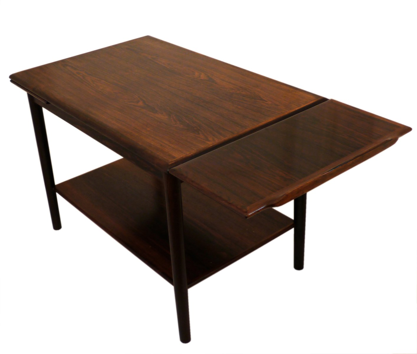 Danish Mid Century Modern Occasional Side Coffee Table Rosewood: Danish Mid-Century Expandable Rosewood Coffee Table, 1960s