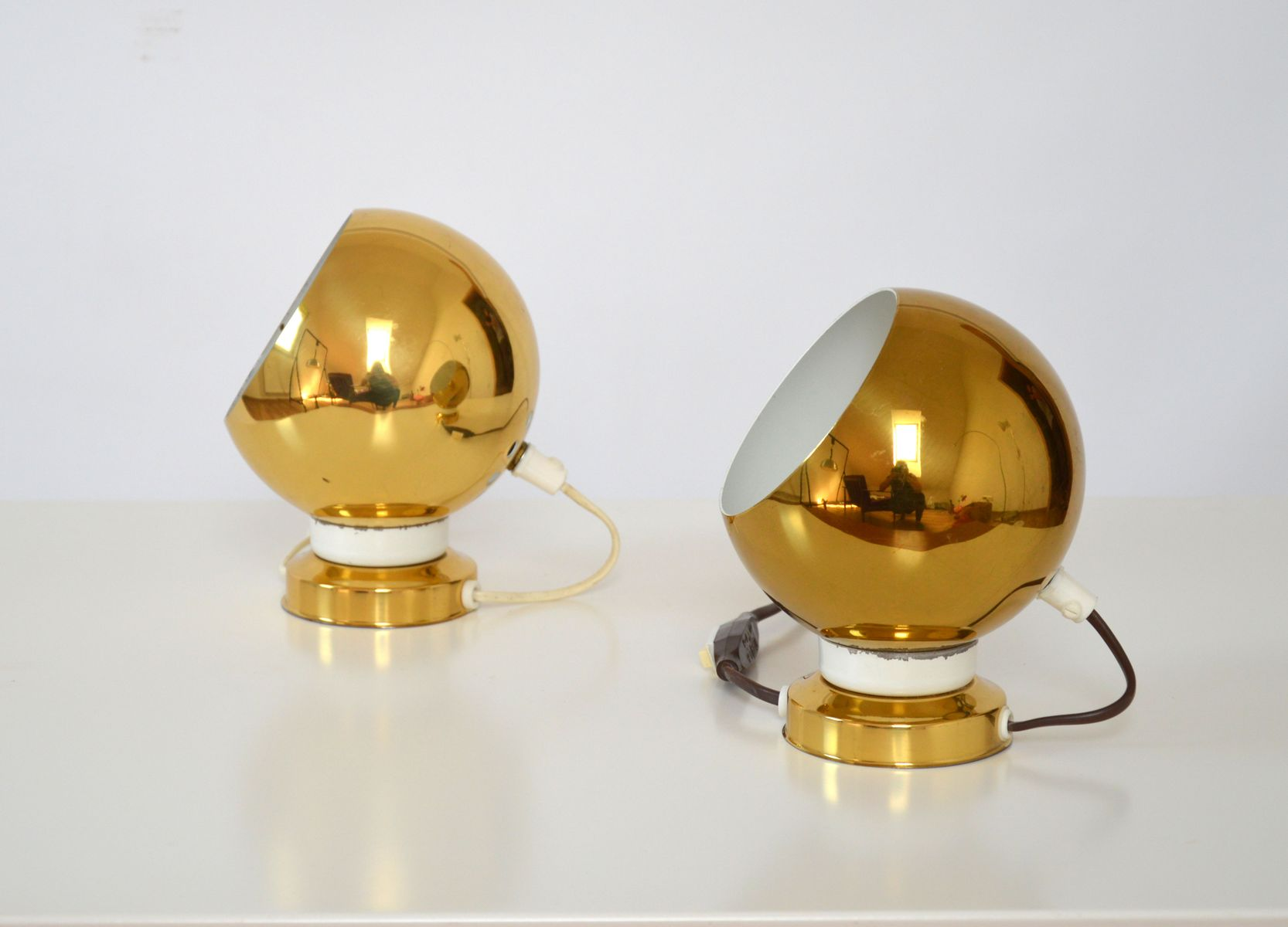Golden Wall Lamps : Swedish Golden-Colored Wall Lamps, 1970s, Set of 2 for sale at Pamono