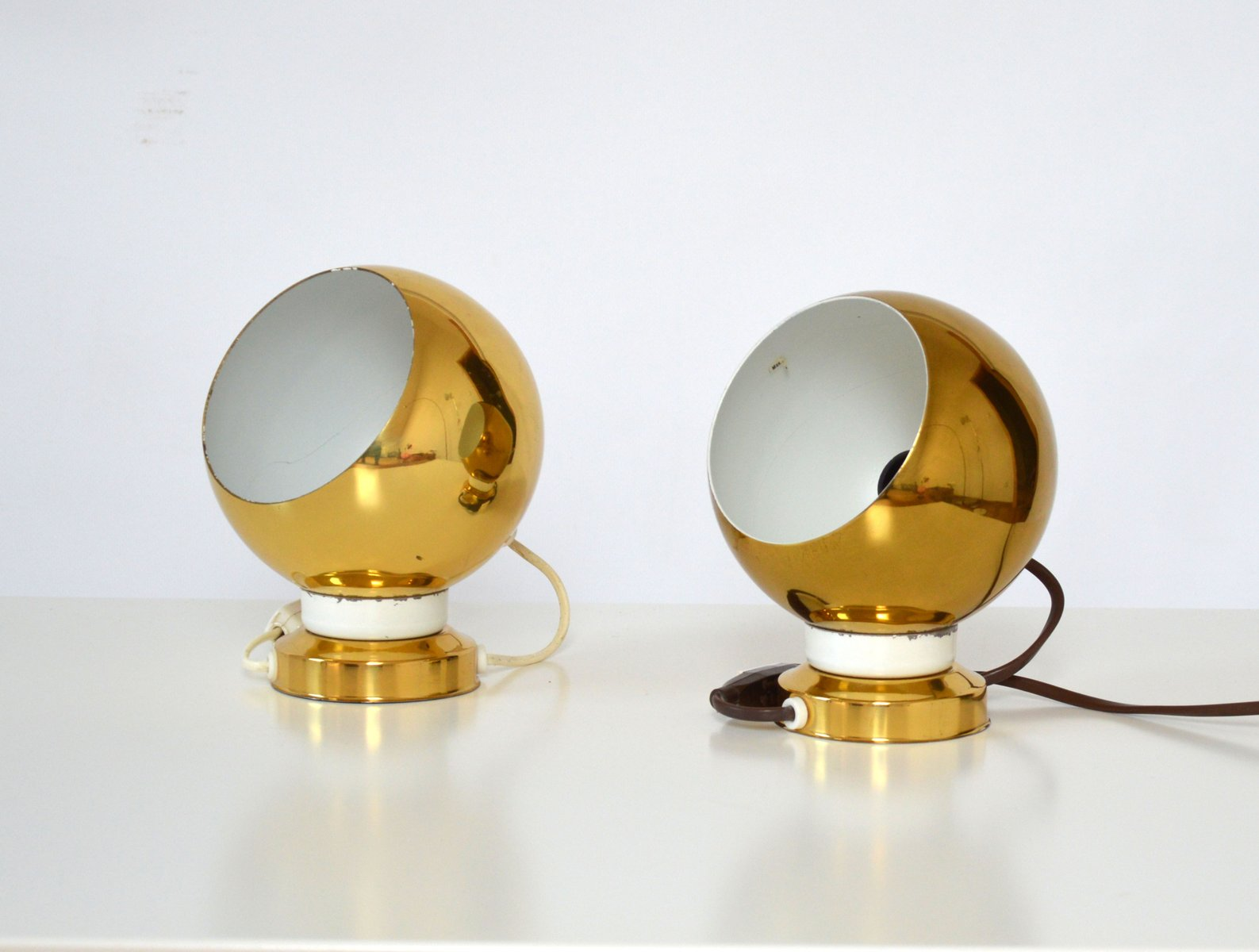 Swedish Golden-Colored Wall Lamps, 1970s, Set of 2 for sale at Pamono