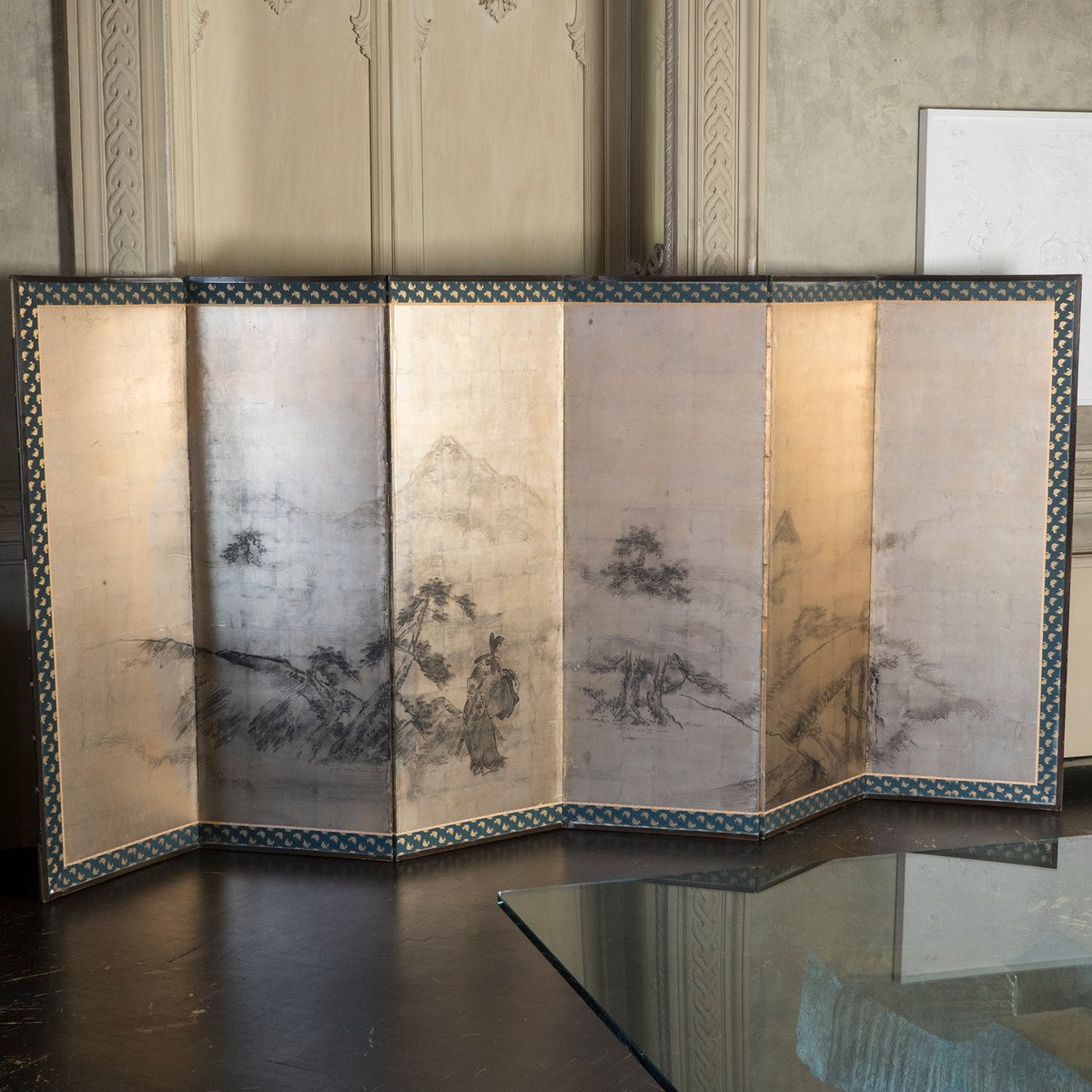 Antique japanese screens for sale - Antique Japanese Six Panel Gold Leaf Screen