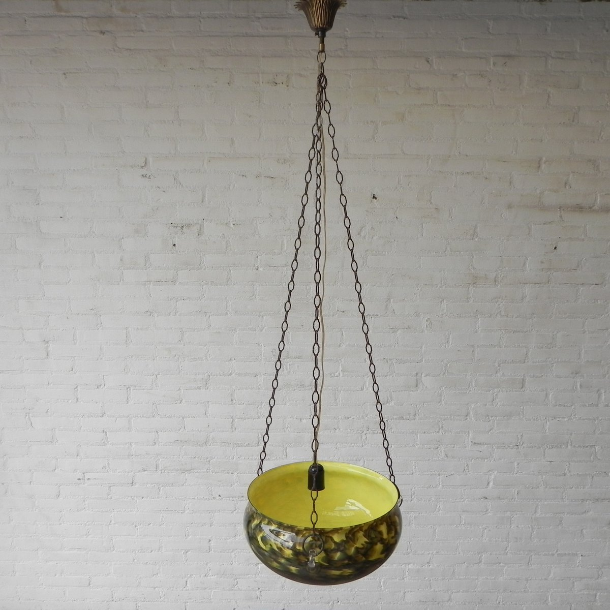 Vintage Hanging Lamp With Large Glass Bowl 1950s For Sale