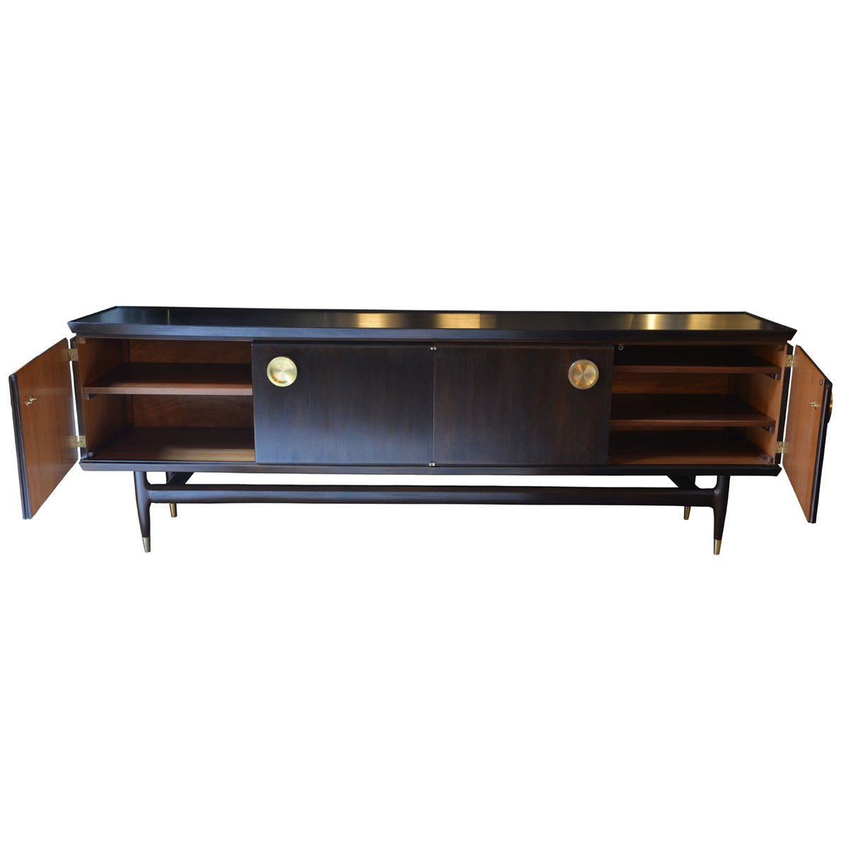 Franz sisches sideboard aus dunkler kastanie messing for Sideboard verspiegelt