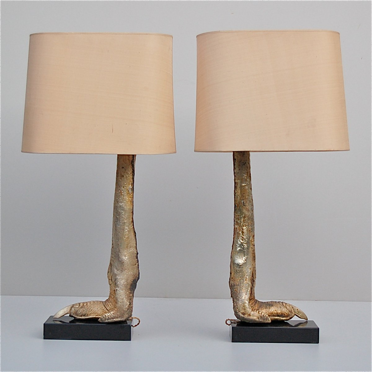 Silver mounted ostrich leg lamps on marble base for sale at pamono silver mounted ostrich leg lamps on marble base geotapseo Image collections