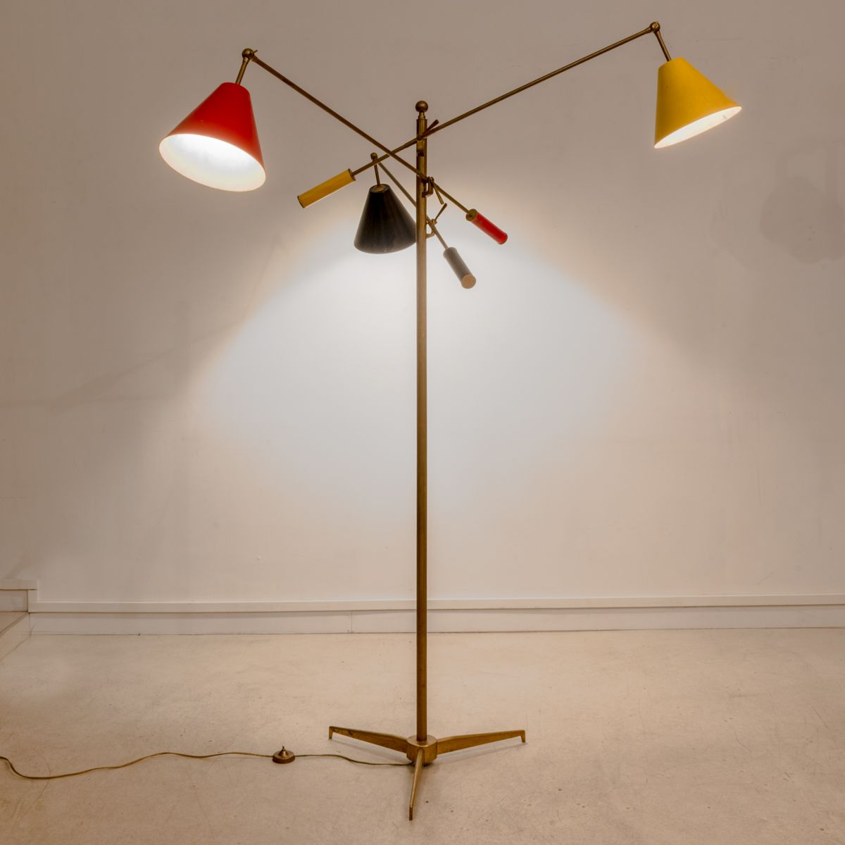 Mid Century Three Light Floor Lamp By Angelo Lelli For Arredoluce, 1951