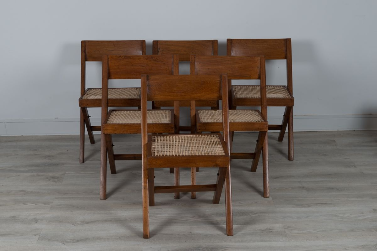 vintage biblioth que chairs by pierre jeanneret set of 6 for sale at pamono. Black Bedroom Furniture Sets. Home Design Ideas