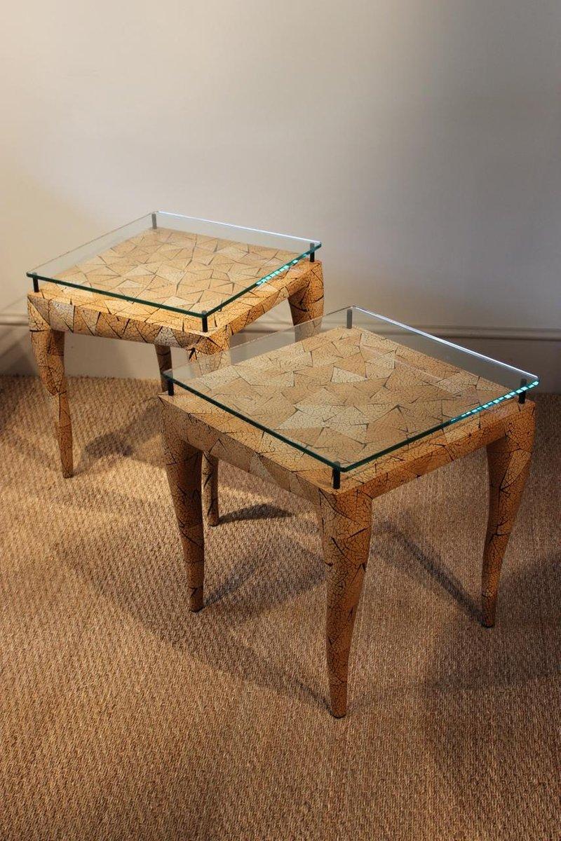 tables d 39 appoint vintage en cocotier de r y augousti. Black Bedroom Furniture Sets. Home Design Ideas