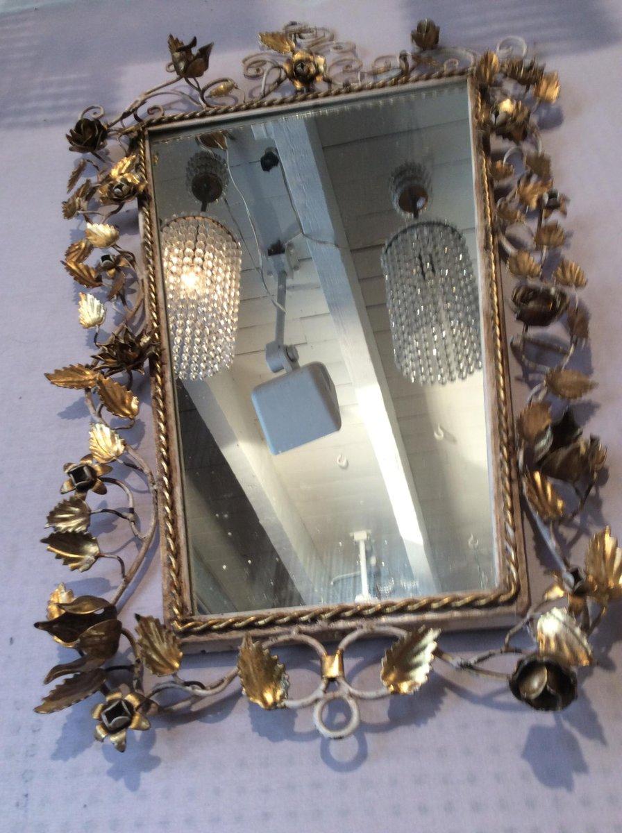 spiegel mit goldenem metallrahmen 1940er bei pamono kaufen. Black Bedroom Furniture Sets. Home Design Ideas