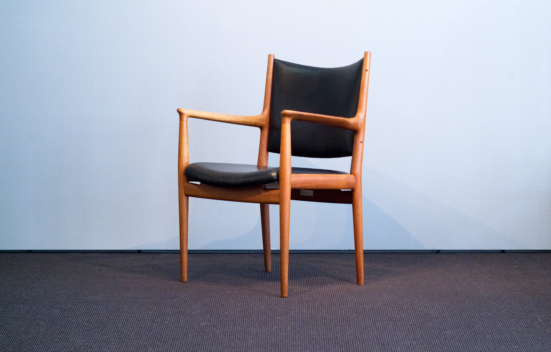 Vintage JH 513 Chair in Teak and Leather by Hans J Wegner for