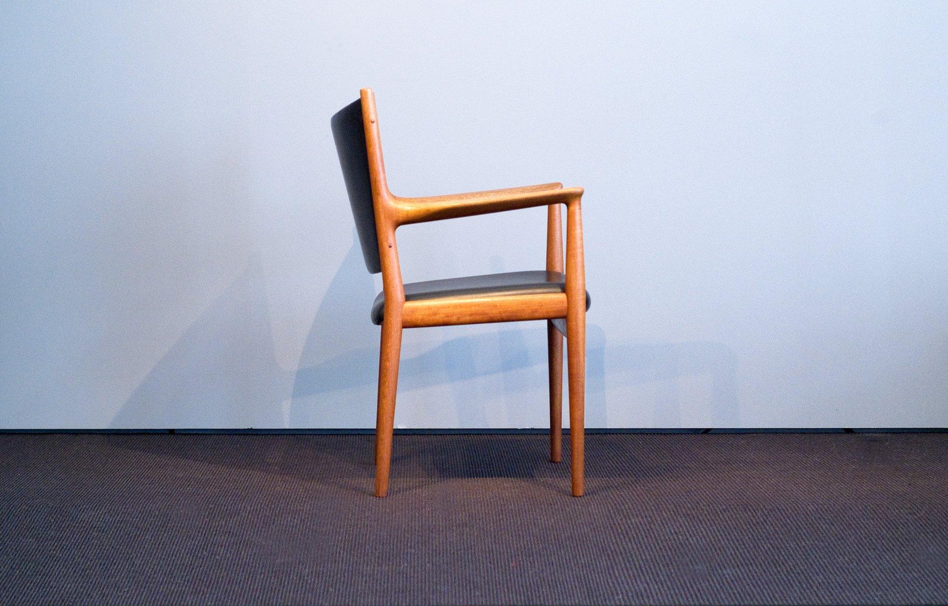 vintage jh 513 stuhl aus teak leder von hans j wegner. Black Bedroom Furniture Sets. Home Design Ideas