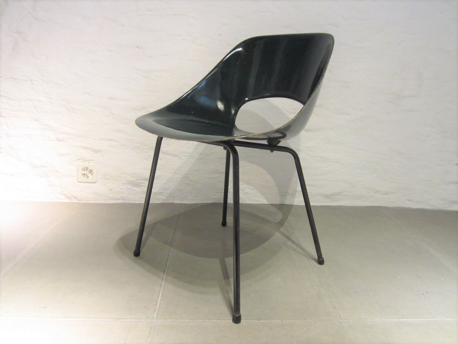 Mid Century French Filigree Fiberglass Chair by Pierre Guariche