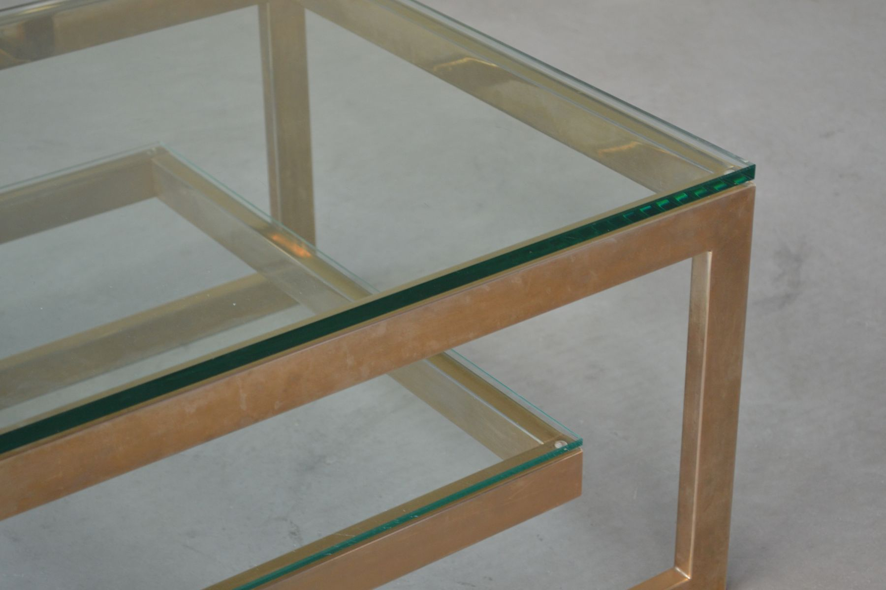 Square G Shaped Gold Plated Coffee Table 1970s for sale at Pamono