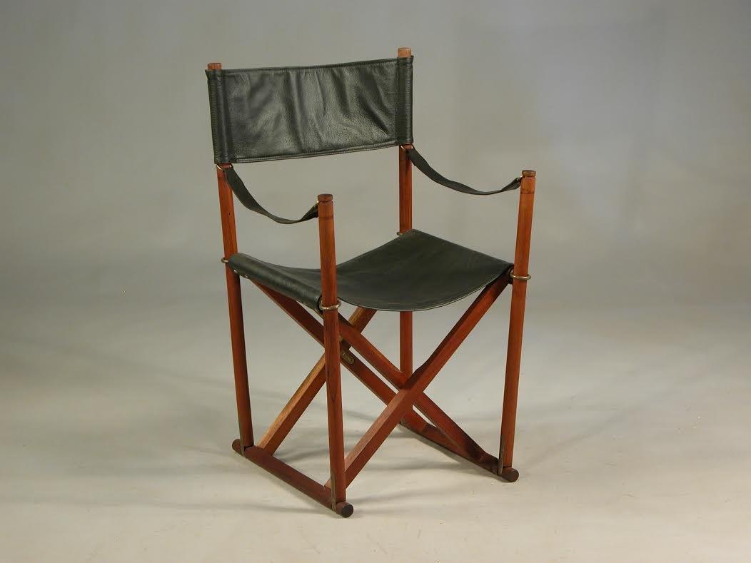 chaise safari pliantes en teck laiton cuir noir par mogens koch pour rud rasmussen 1960s en. Black Bedroom Furniture Sets. Home Design Ideas