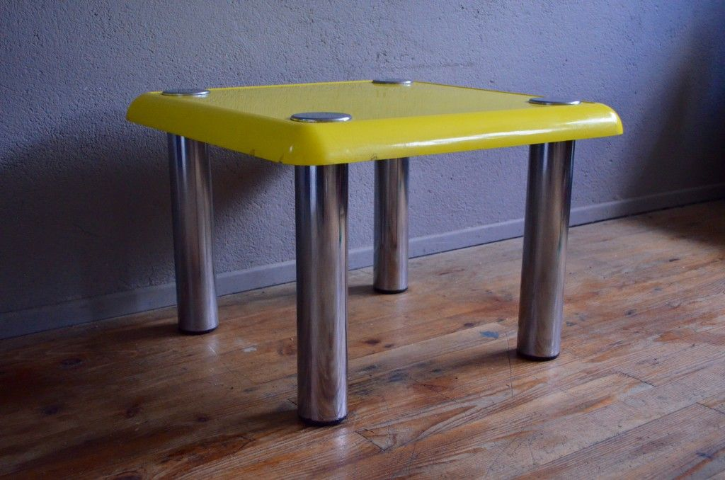 Vintage Yellow Bistro Coffee Table By Joe Colombo For Zanotta For Sale At Pamono