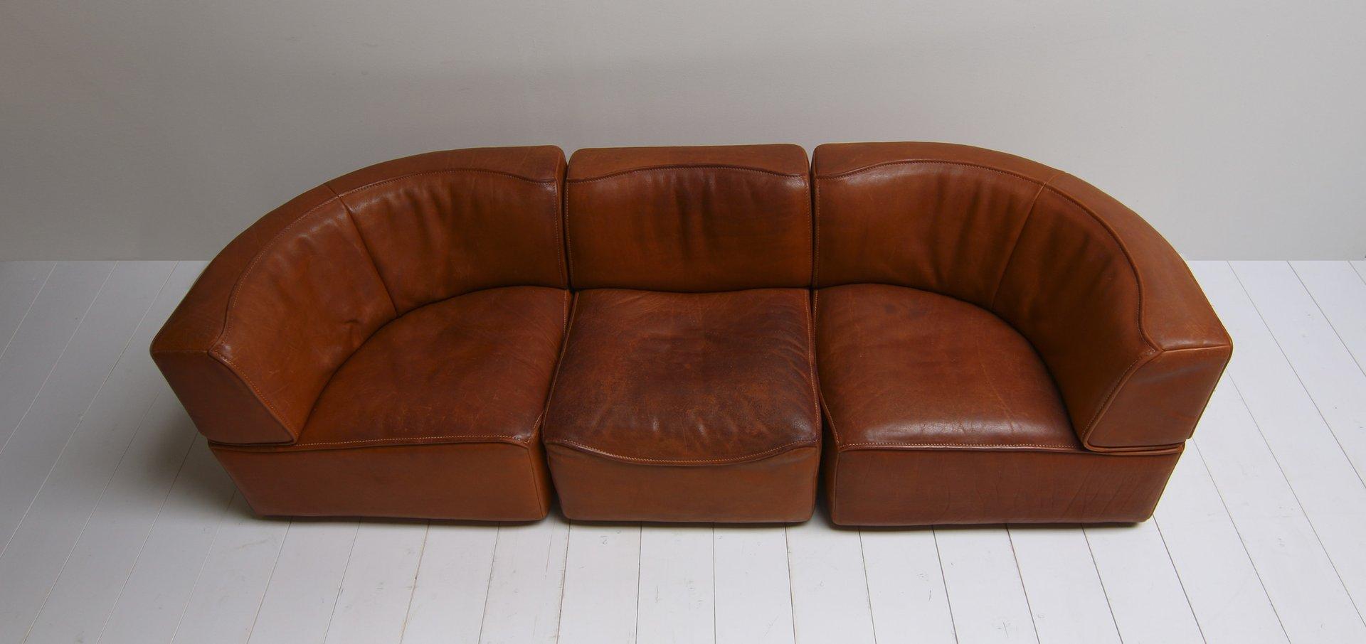 Vintage ds15 saddle leather sofa in cognac color from de - Colores para sofas ...