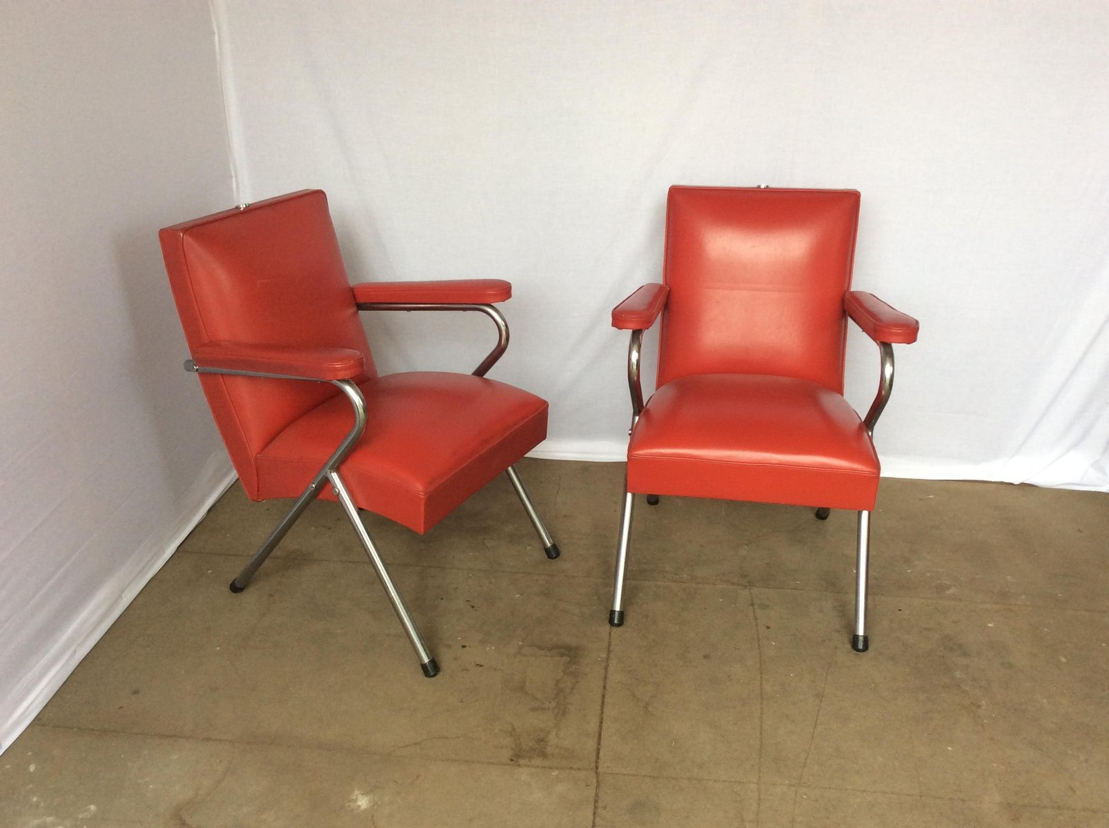 Chrome and red vinyl salon chairs 1960s set of 2 for for Salon bench