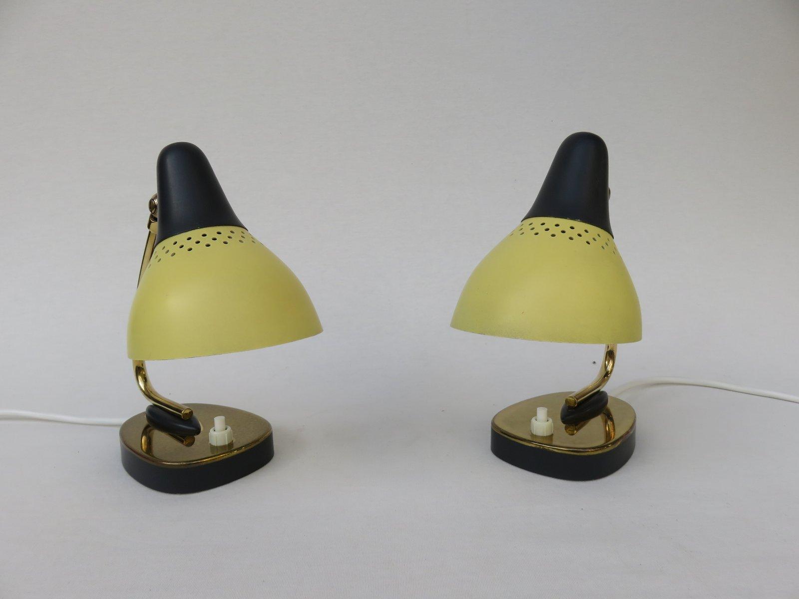 Lampade da tavolo in ottone laccato giallo e nero italia - Lampade da tavolo anni 50 ...