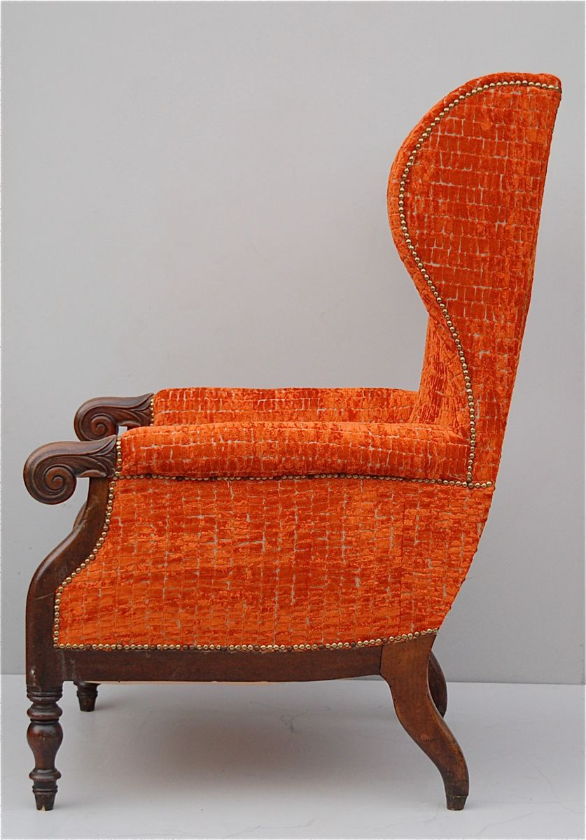 Wing back chair vintage - Vintage Italian Wingback Chair With Mahogany Frame 7 2 420 00 Price Per Piece