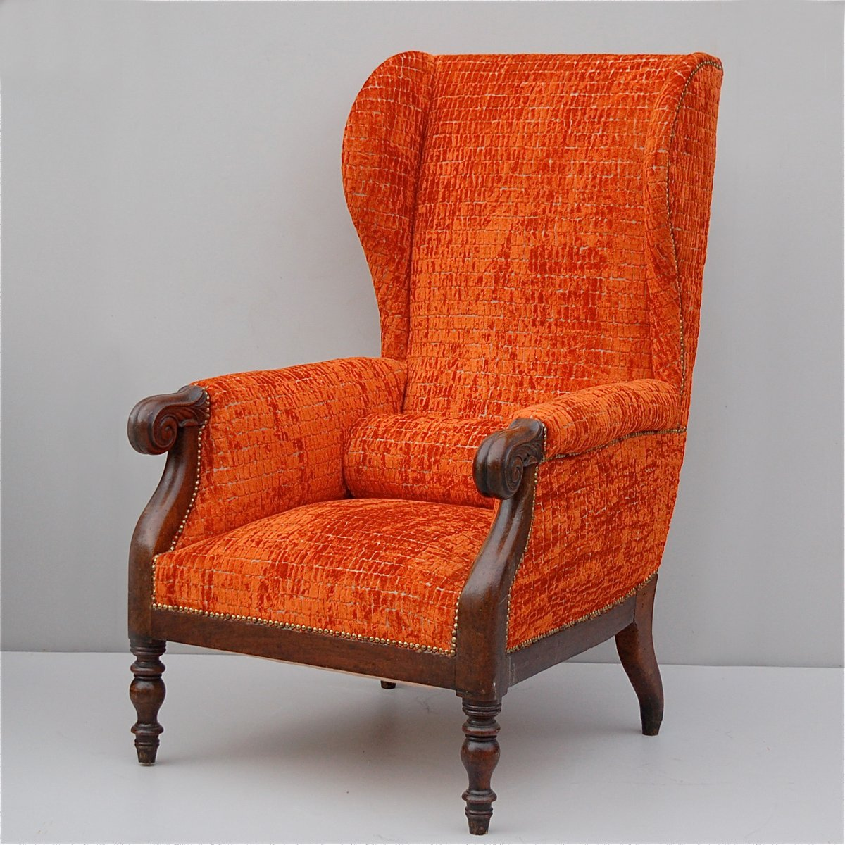 Wing back chair vintage - Vintage Italian Wingback Chair With Mahogany Frame