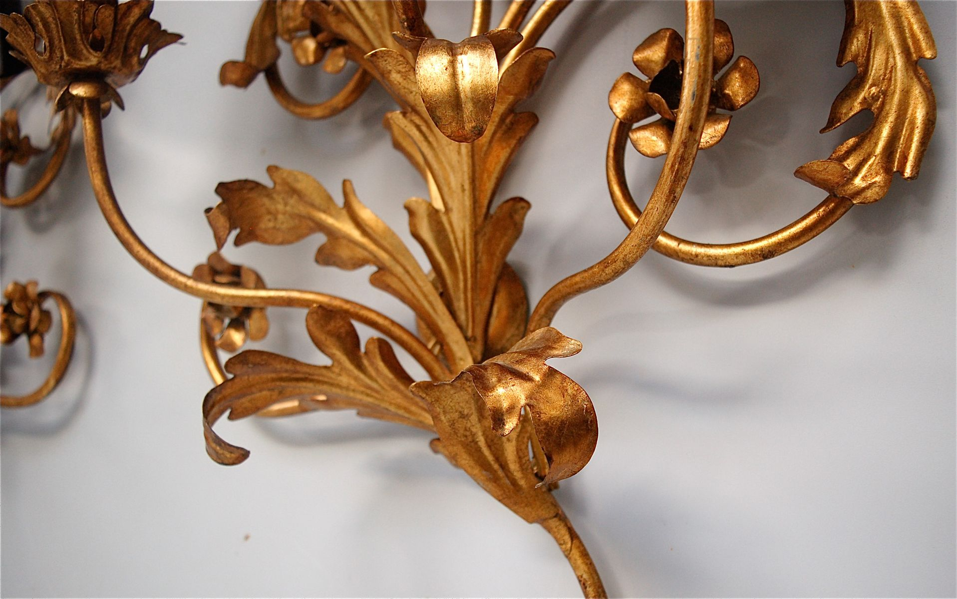 Large Italian Faux Candle Wall Sconces with Floral Details, Set of 2 for sale at Pamono