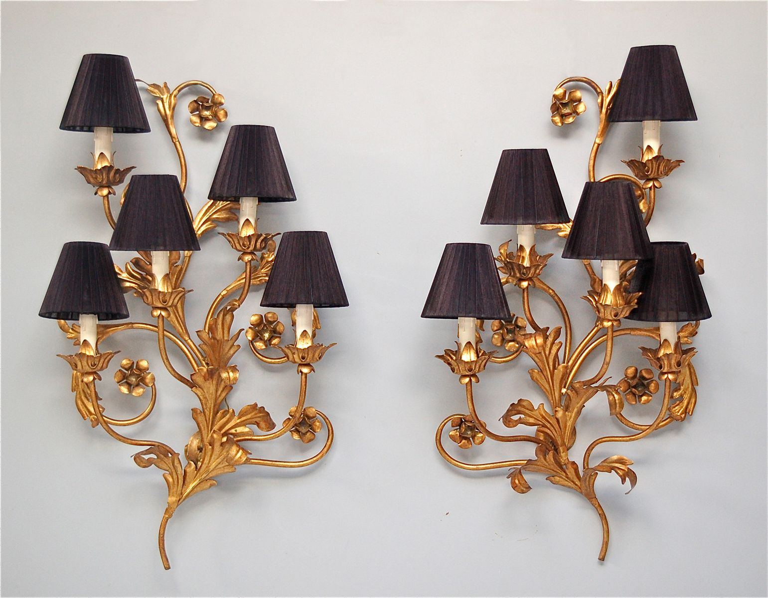 Wall Sconce Faux Candle : Large Italian Faux Candle Wall Sconces with Floral Details, Set of 2 for sale at Pamono