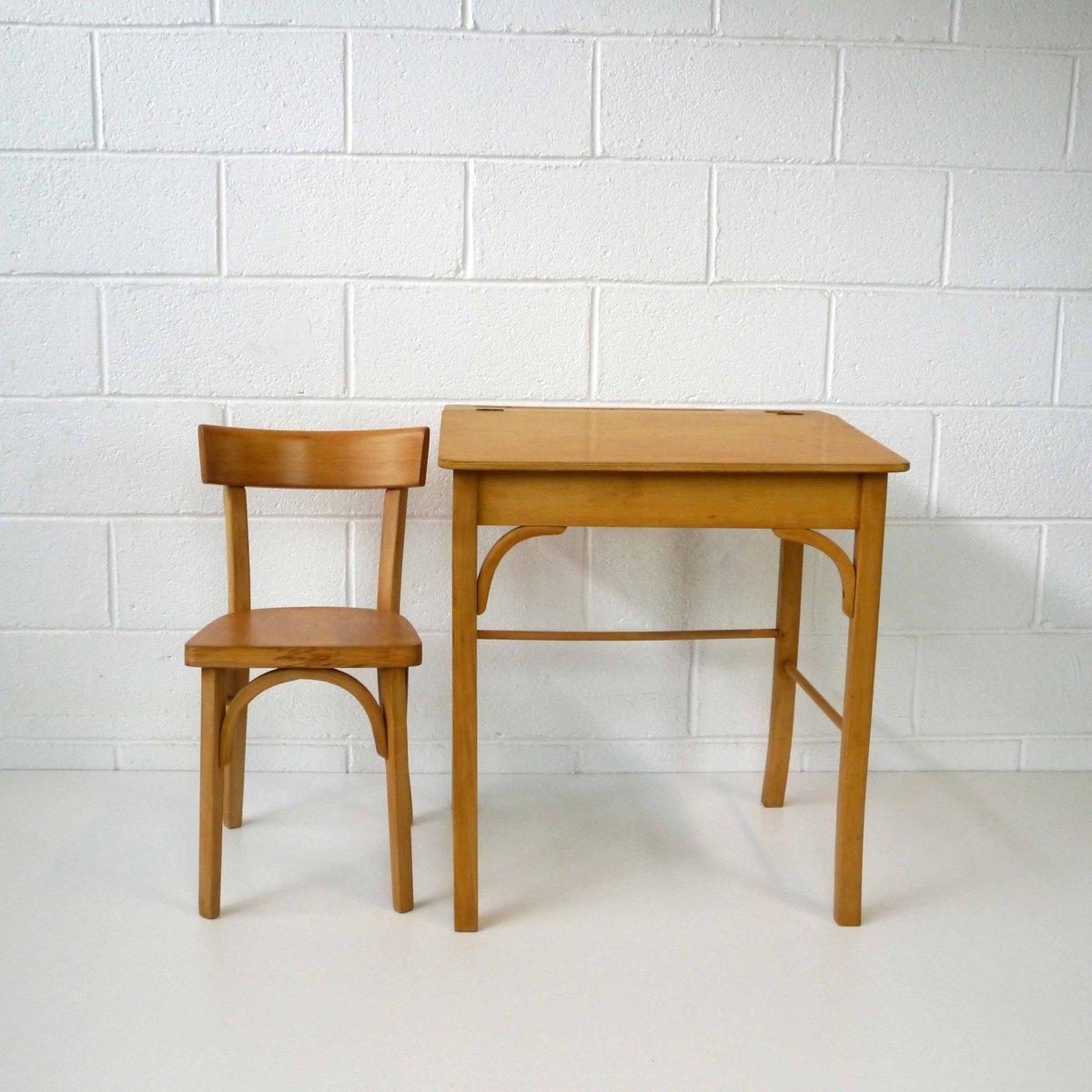 Bureau d 39 enfant vintage en bois par egon eierman set de 2 for Bureau enfant en bois
