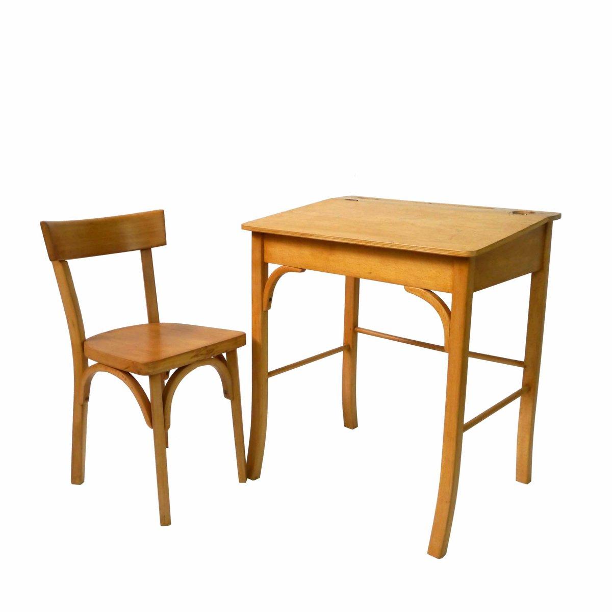 vintage kinder schreibtisch mit stuhl aus holz bei pamono. Black Bedroom Furniture Sets. Home Design Ideas