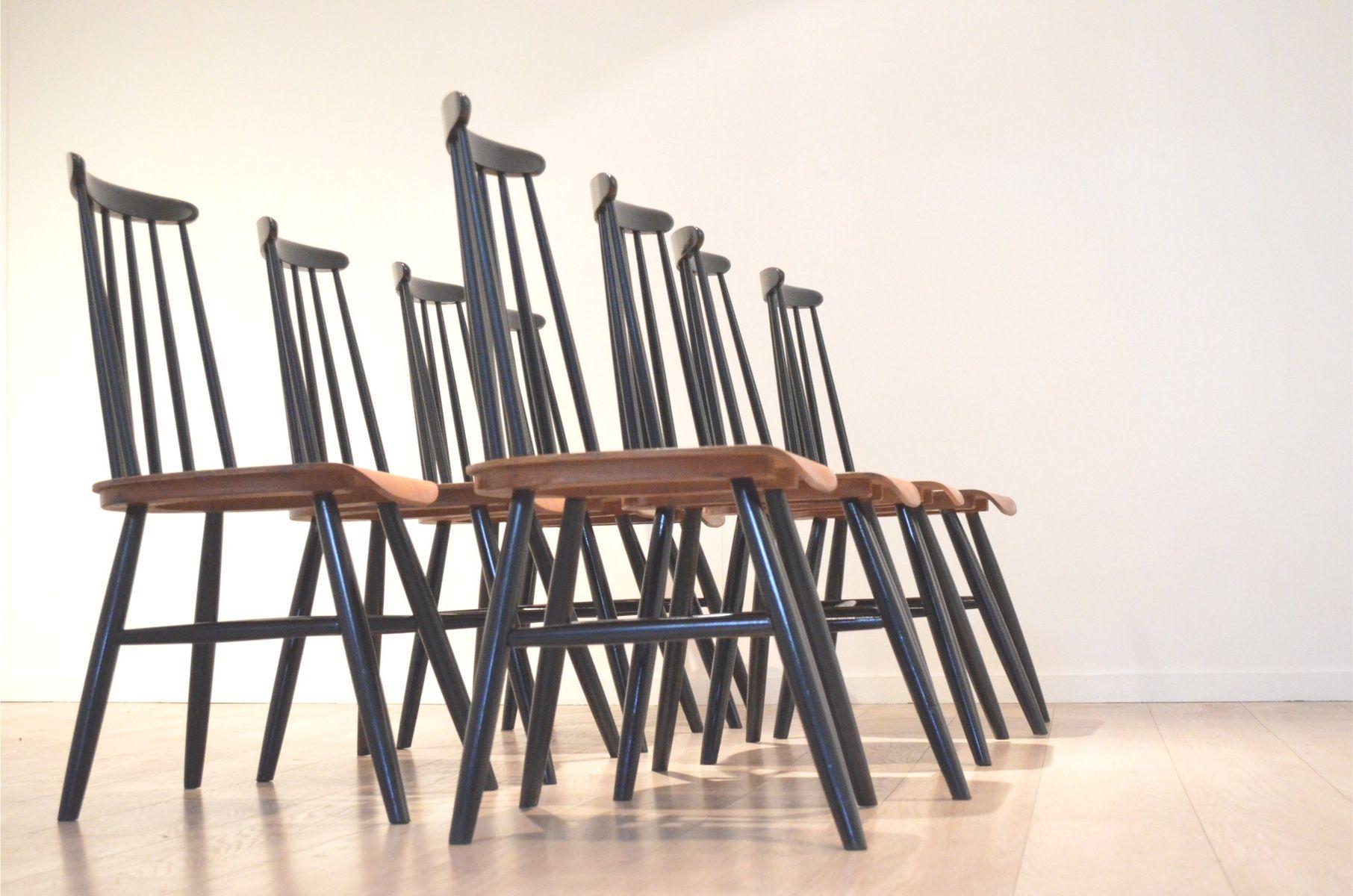 Vintage Fanett Black & Teak Dining Chairs by Ilmari Tapiovaara
