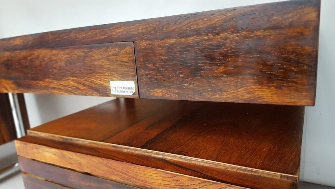 Large Executive Rosewood Amp Metal Office Desks 1974 Set